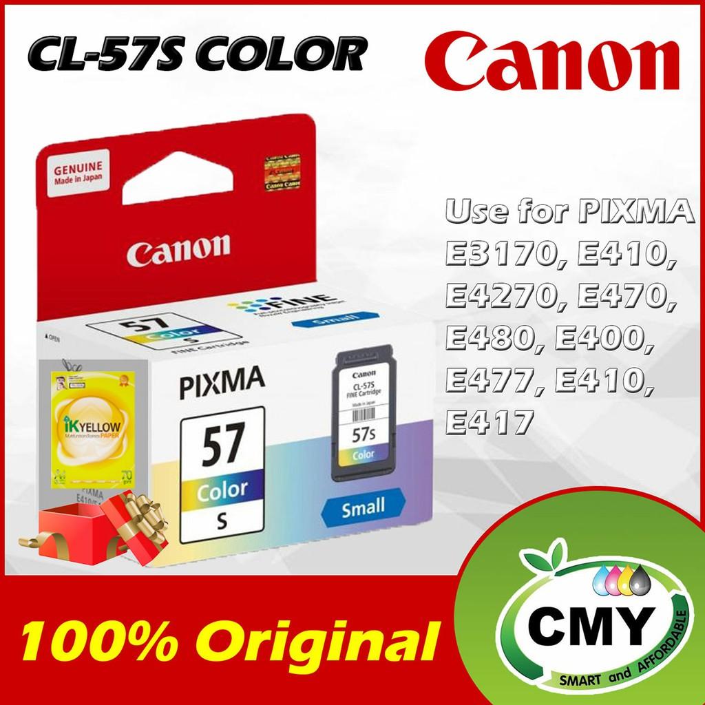 Canon CL-57s / CL57s Original Ink Cartridge + 1 Ream A4 Paper 500pcs Canon Pixma E400 E410 E460 E470 E480