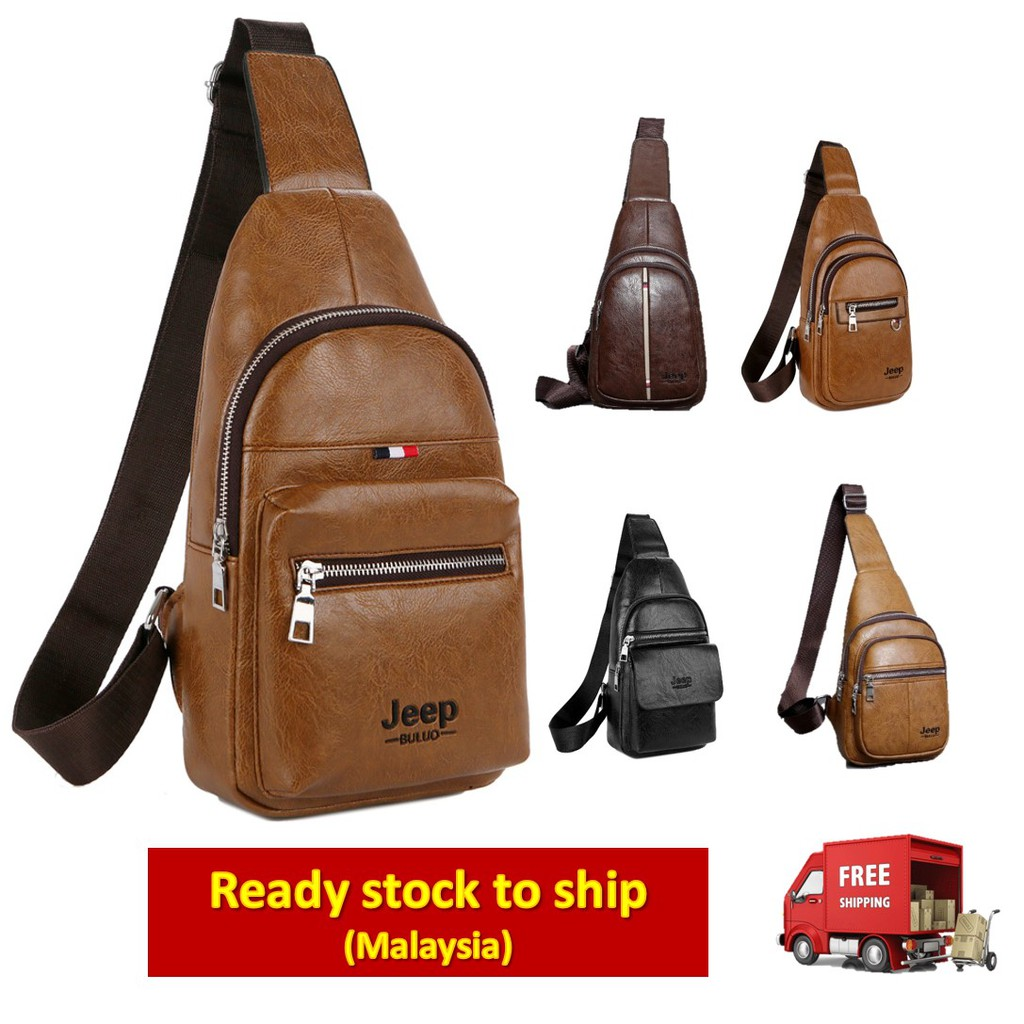 4ba071306a5 Jeep Men's Sling Bag Leather Chest Bag Shoulder Beg Crossbody Backpack    Shopee Malaysia