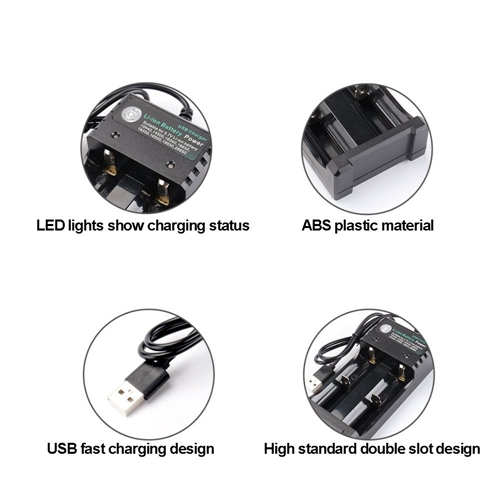Universal 2 Slot 14500/16340/18650/26650/AAA/AA USB 3.7v Li-ion Battery Charger