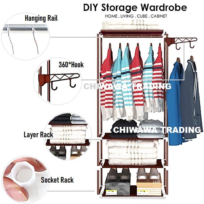 4 Layer DIY Wardrobe Clothes Storage Rack Shoe Cloth Closet Cube Cabinet Organizer Drying Shelf / Rak Almari Baju
