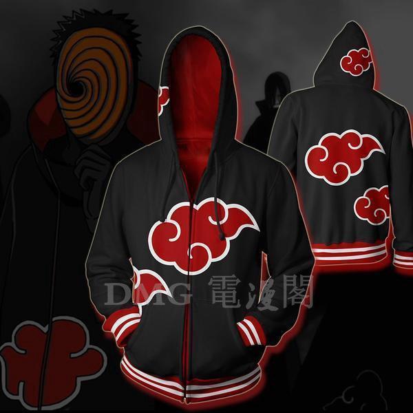Naruto0 Akatsuki Uchiha Itachi Zipper Jacket Hoodie Sweatshirts Cosplay Costume