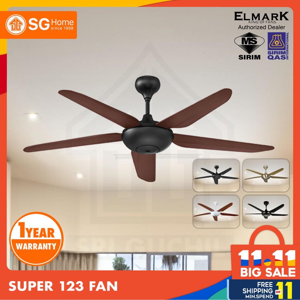 Elmark Super123 56 With Remote Control Ceiling Fan Gold Black Matte Black Mocha White Koa Single Twin Pack Shopee Malaysia