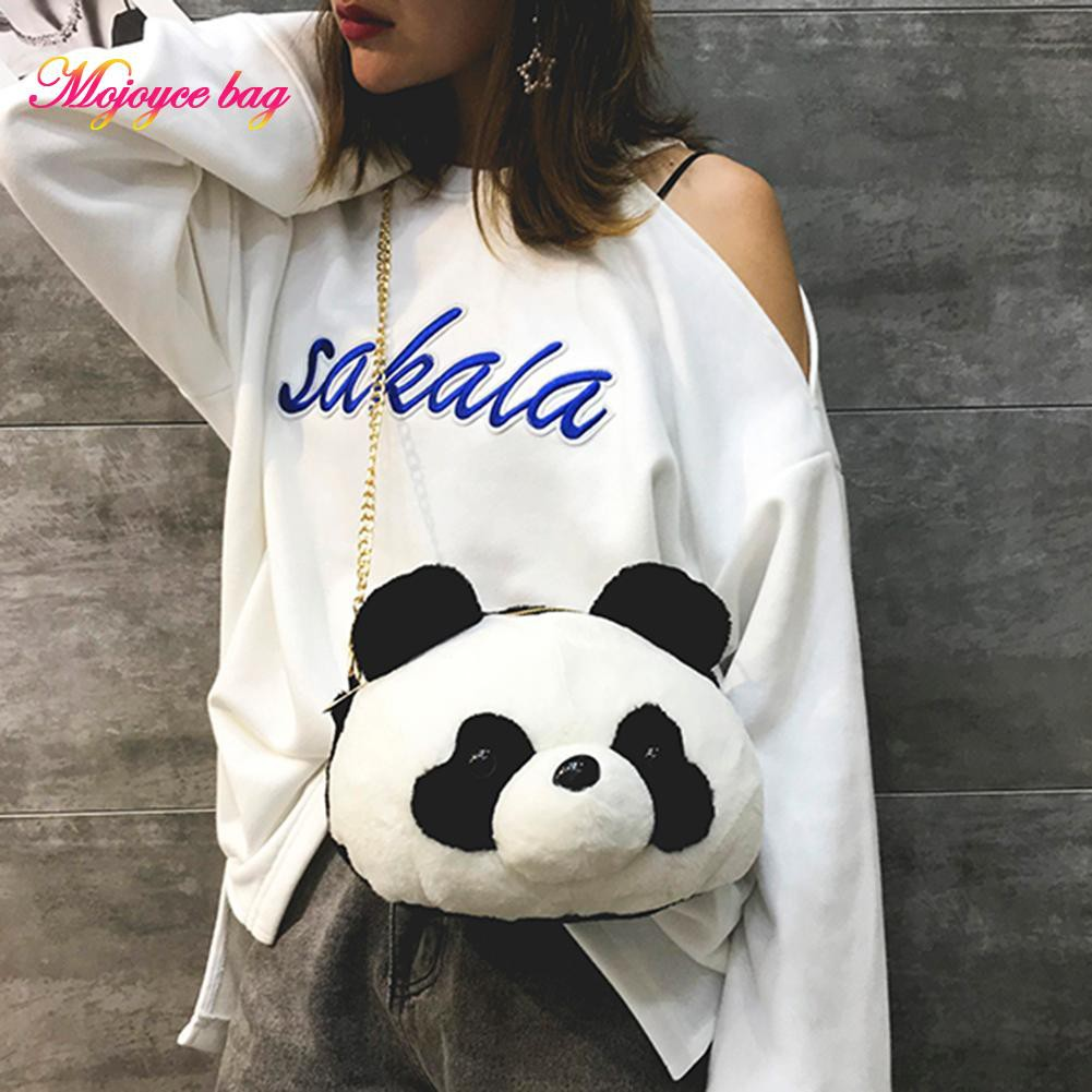 *Bag* Plush Panda Shoulder Bags Women Girls Chain Zipper Messenger Clutch