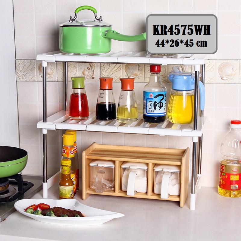 [ READY STOCK ]  Stainless Steel Double Layer Shelf Storage Kitchen Rack Jualan Murah Raya Simpanan Almari Perabut Box