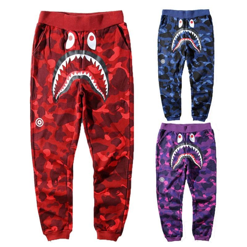 Hot Bape A Bathing Ape Shark Head Men Casual Sport Pants Long Cotton Trousers