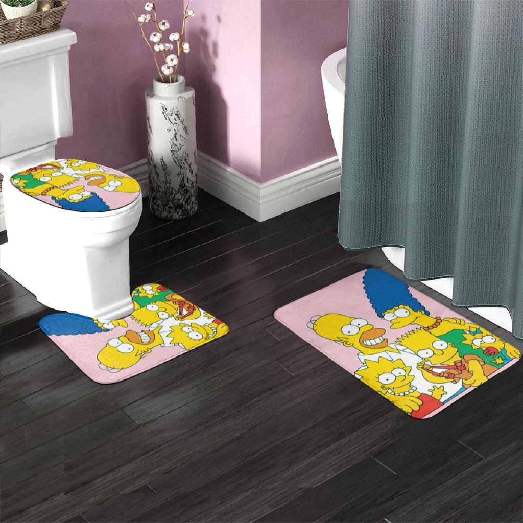 The Simpsons(13) Bathroom Antiskid Pad Bathroom Antiskid Pad Mats Set 2 Piece Soft Pads Bath Mat
