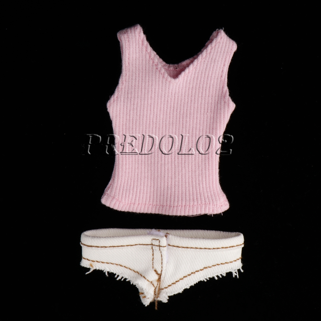b24910a93ff 1/6 Scale Knit Vest Top and Denim Shorts Set for 12\