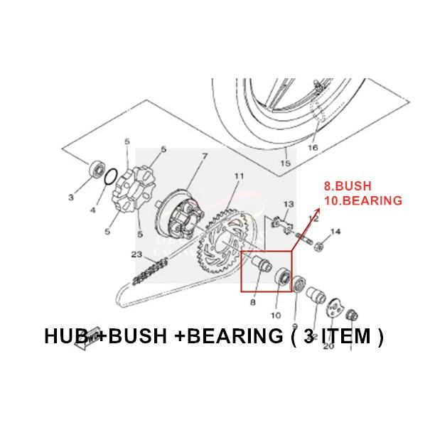 100% ORIGINAL HONG LEONG YAMAHA LC135 5S/5 SPEED REAR WHEEL TYRE SPORTRIM STANDARD CLUTCH SPROCKET HUB WITH BEARING