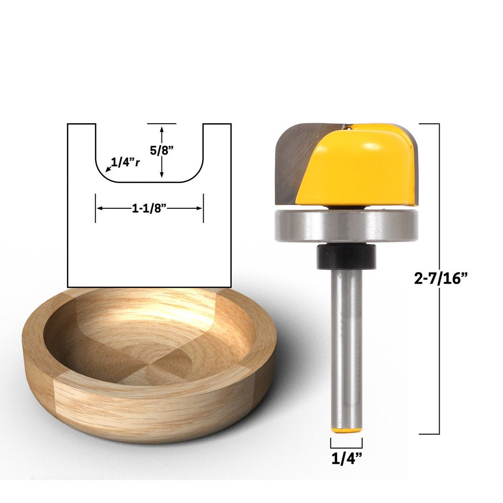 1//4/'/' Shank Router Bit Set 1-1//8 and 3//4 Diameter Dish Tray Carving Woodworking