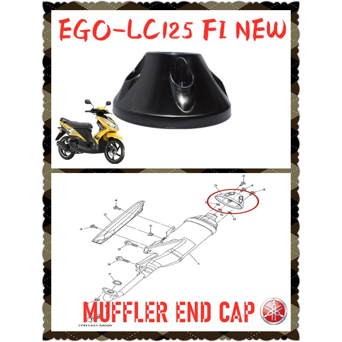 100% ORIGINAL HONG LEONG YAMAHA SCOOTER EGO LC 125 FI NEW REAR EXHAUST PIPE MUFFLER TAIL END CAP COVER COLOUR BLACK ORI