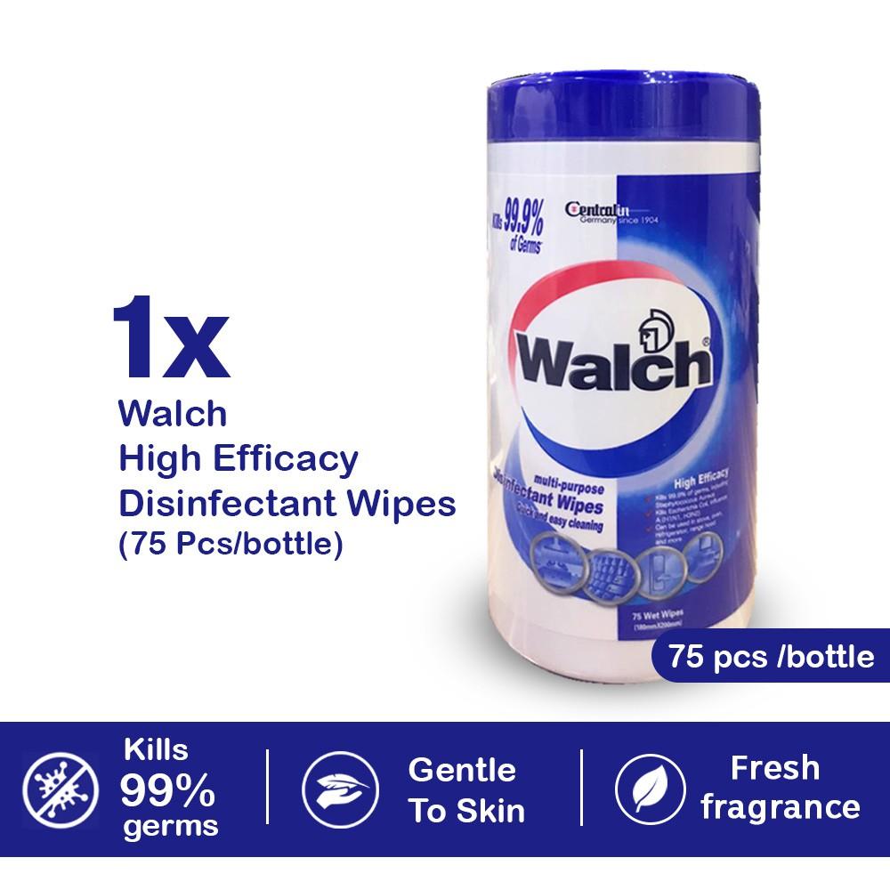 Ready Stock Walch Disinfectant Wipes 75pcs Easy Use Antibacterial Kills 99.9%