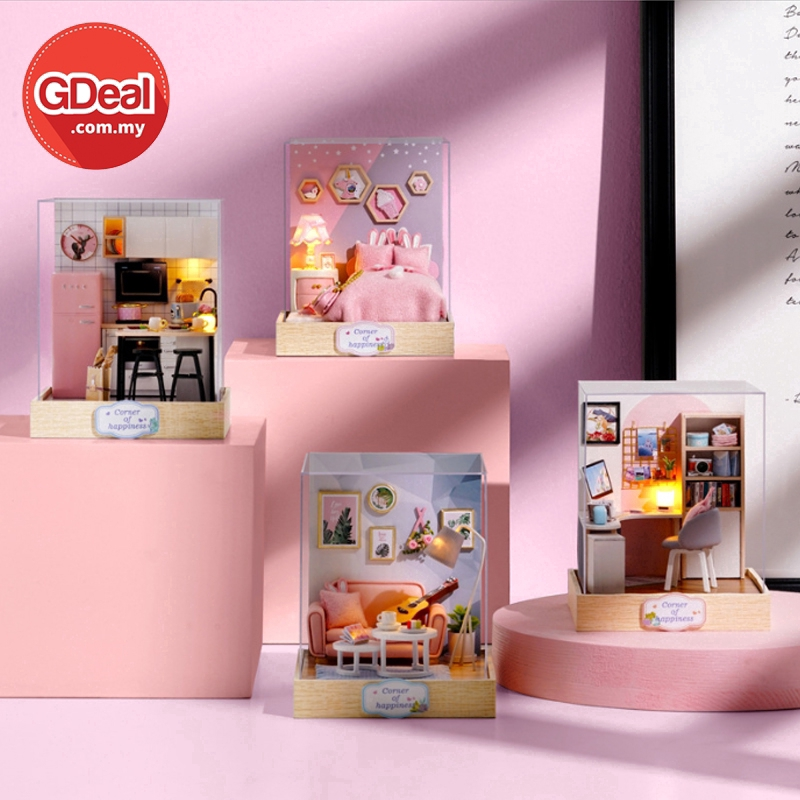 GDeal Hand-Assembled DIY Small Doll House Toy Furniture Mini Cute Room Box Miniature With Dustproof Cover
