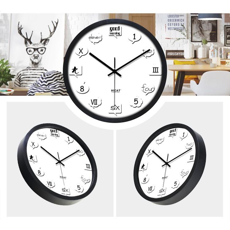 [Ready Stock] Wall Clock Visual Design 12'inch Living Room HiCat Creative Clock