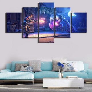 5 Panels Video Game Fortnite Figure Wall Art Canvas Painting Home Decoration