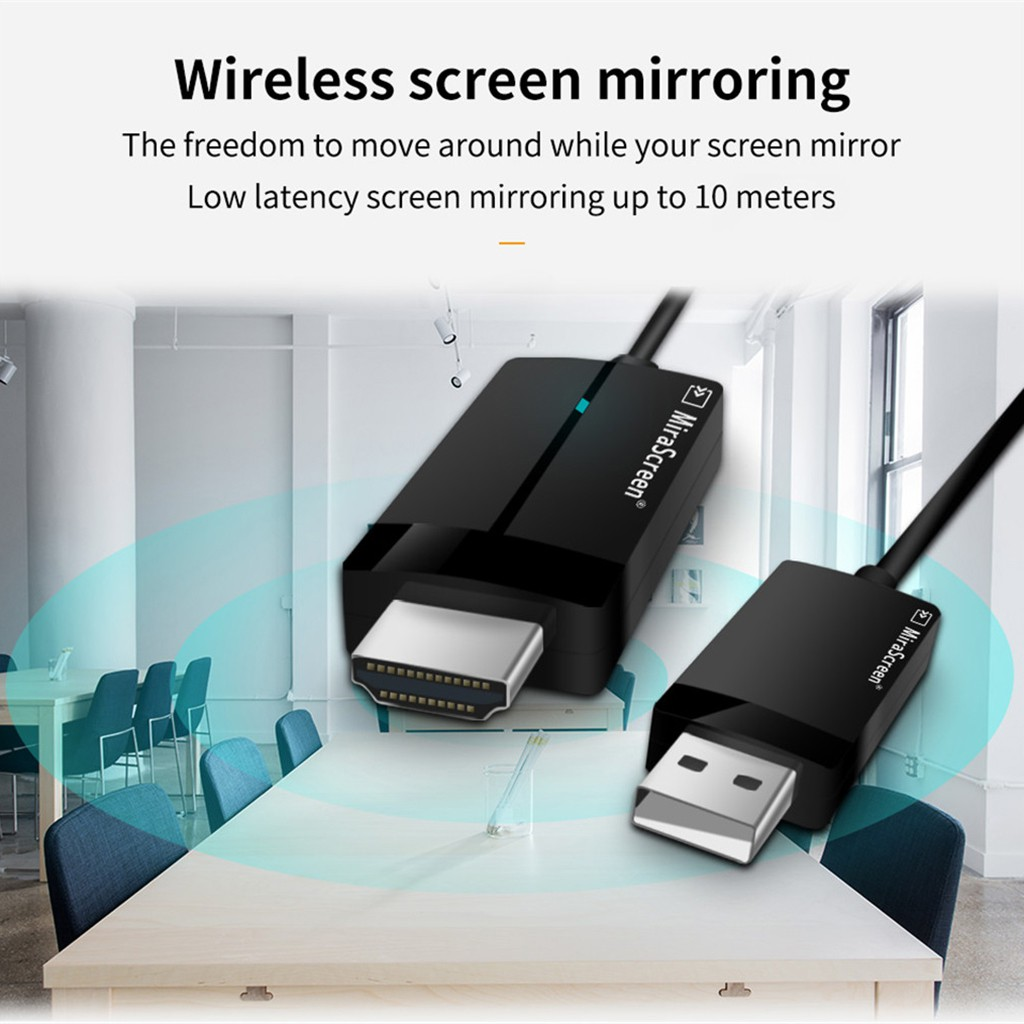 MiraScreen Miracast Wifi Display Dongle Receiver 1080 Wireless AirPlay Cable