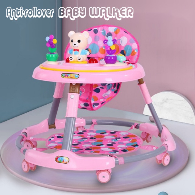 [READY STOCK]Baby walker Multi-function anti-rollover walker c/w Chinese & English music height-adjustable  (No Mat)