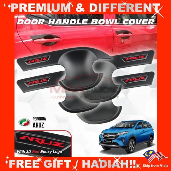 [FREE Gift] PERODUA ARUZ Matt Black Door Handle Inner Bowl Protector Cover Trim (4pcs/Set)