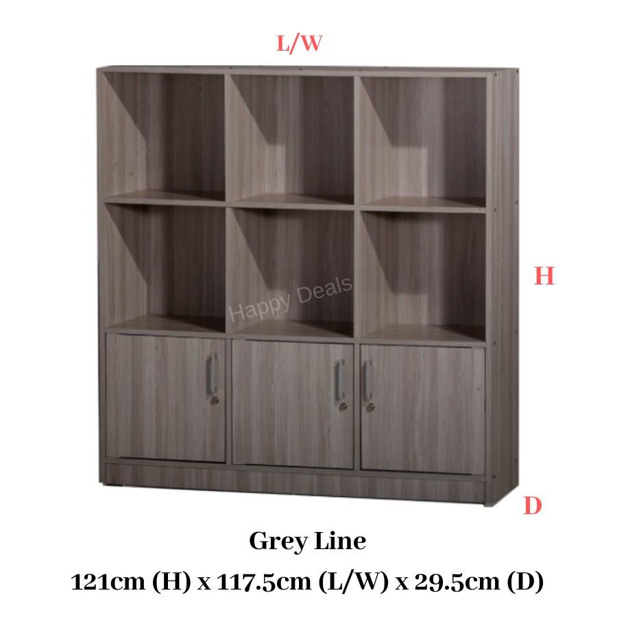 DIY Premium Multipurpose 3 Doors 9 compartments Storage Cabinet/ File Cabinet/ Rak Buku/ Rak Simpanan 书橱 储物柜 衣橱(SU 832D)