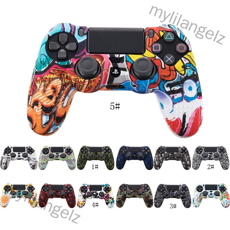 Mylilangelz Camouflage Case Graffiti Studded Dots Silicone Rubber Gel Skin for Sony PS4 Slim/Pro Controller Cover Case f