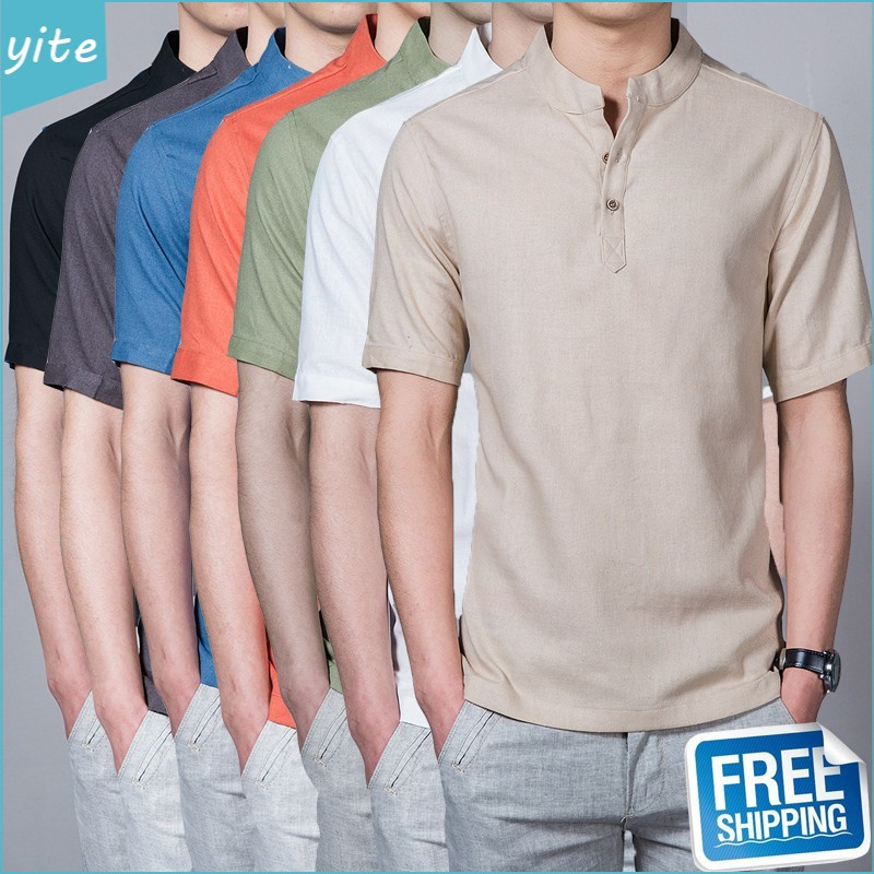 Kemeja Lelaki Fashion Linen Men Shirt Short Sleeve Slim Fit Plain Casual Baju Kemeja Lelaki