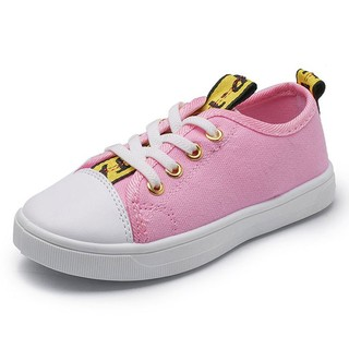 3b80b08962 Children Shoes Casual Lace-up Canvas Boy and Girl Sports Shoes(PINK ...