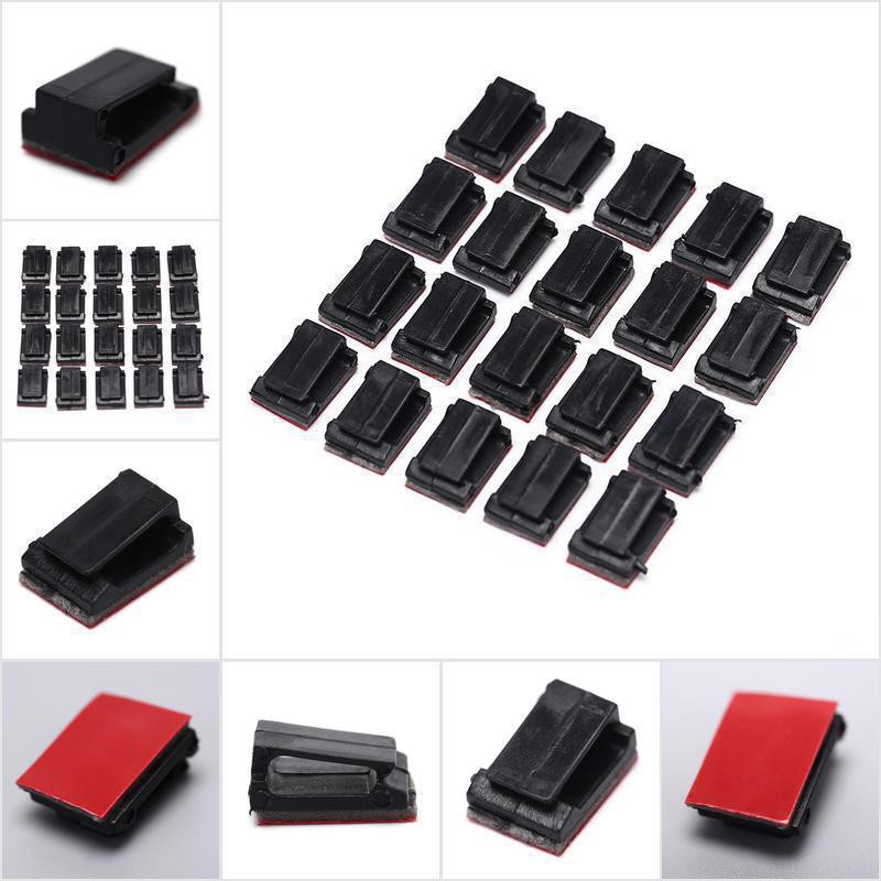 New 20pcs For Car Dash Camera Self-Adhesive Wire Tie Cable Clamp Clip Holder