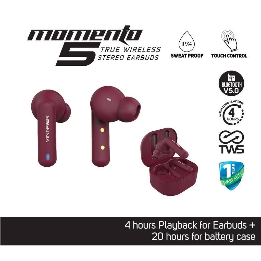 Vinnfier Momento 5 Bluetooth True Wireless Earphones Touch Control Wireless Earbuds Earphones TWS Earbud Earpod Earpods