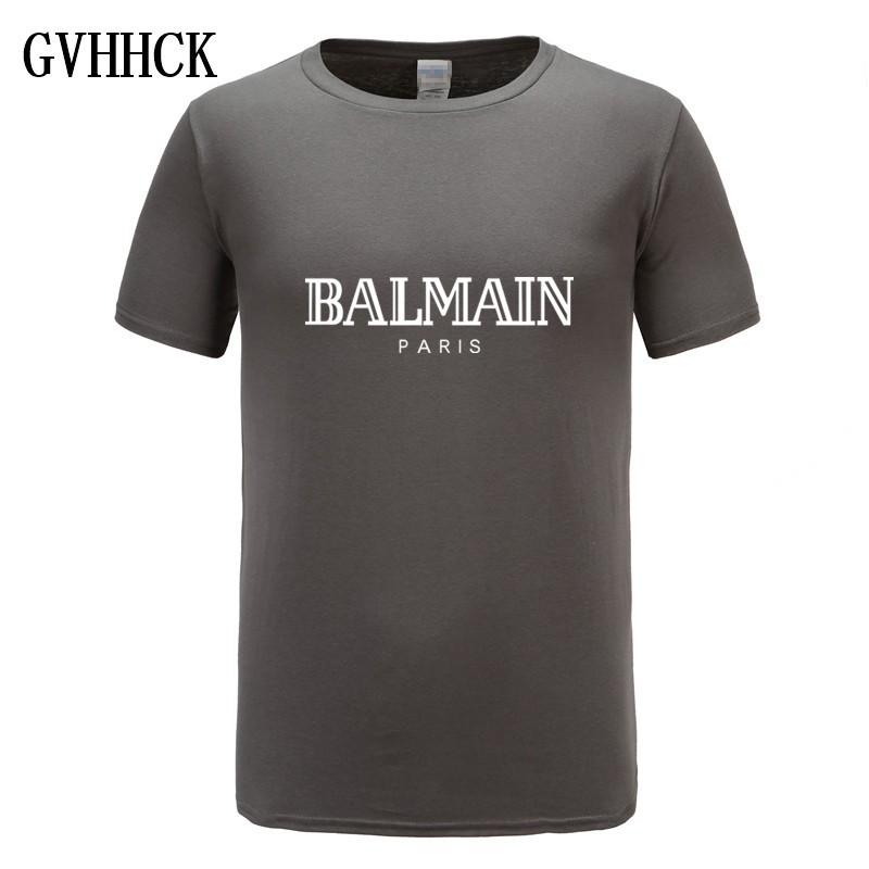 ab7577aa Balmain Paris T Shirt Men Fashion Letter T-Shirt casual Comfortable mens  short tee 2018 hot mens   Shopee Malaysia