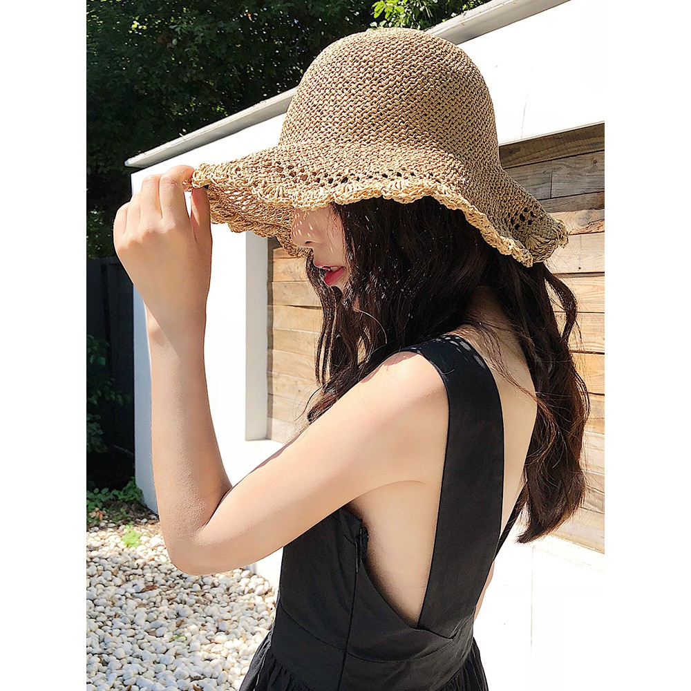 679c62ac zhx]Sun hat female summer big straw hat foldable wild sun hat travel ...