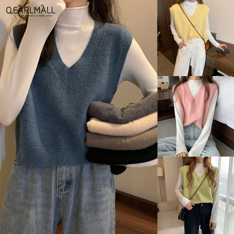 11 Color Korean Version Now Women S V Neck Sweater Vest Casual Top Sleeveless Solid Color Knitted Loose Fit Tank Top Shopee Malaysia Buy a versatile sweater vest from this collection today. shopee malaysia