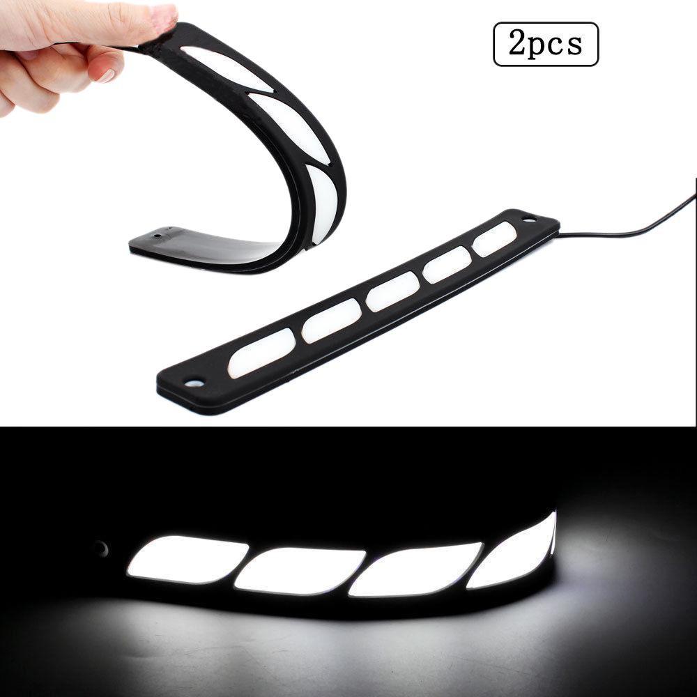 2X White 6 LED Universal Car Auto Driving Lamp Fog 12V DRL Daytime Running Light