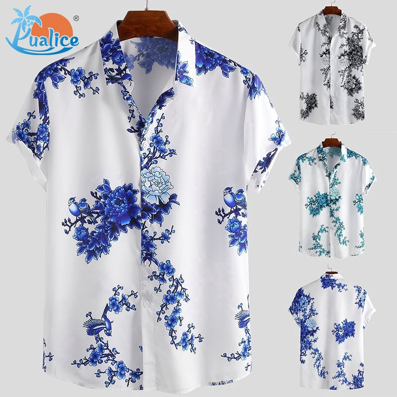 Turn-Down Collar Button-Down Beach Hawaiian Style Blouse Tee Shirt Mens Casual Flower Print Short Sleeve T-Shirt Tops