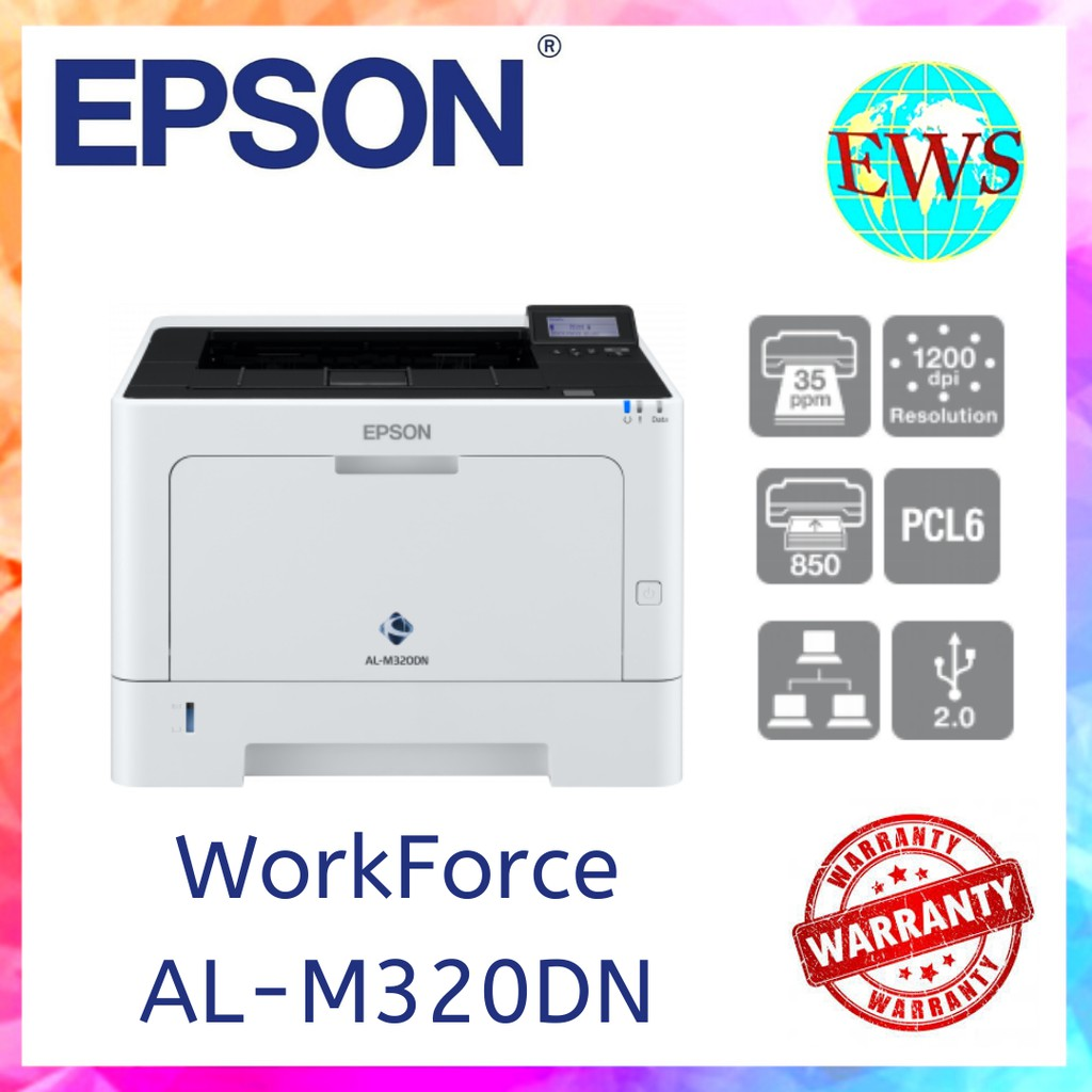 Epson Workforce Aculaser Al M320dn Monochrome Laser Printer Shopee Malaysia