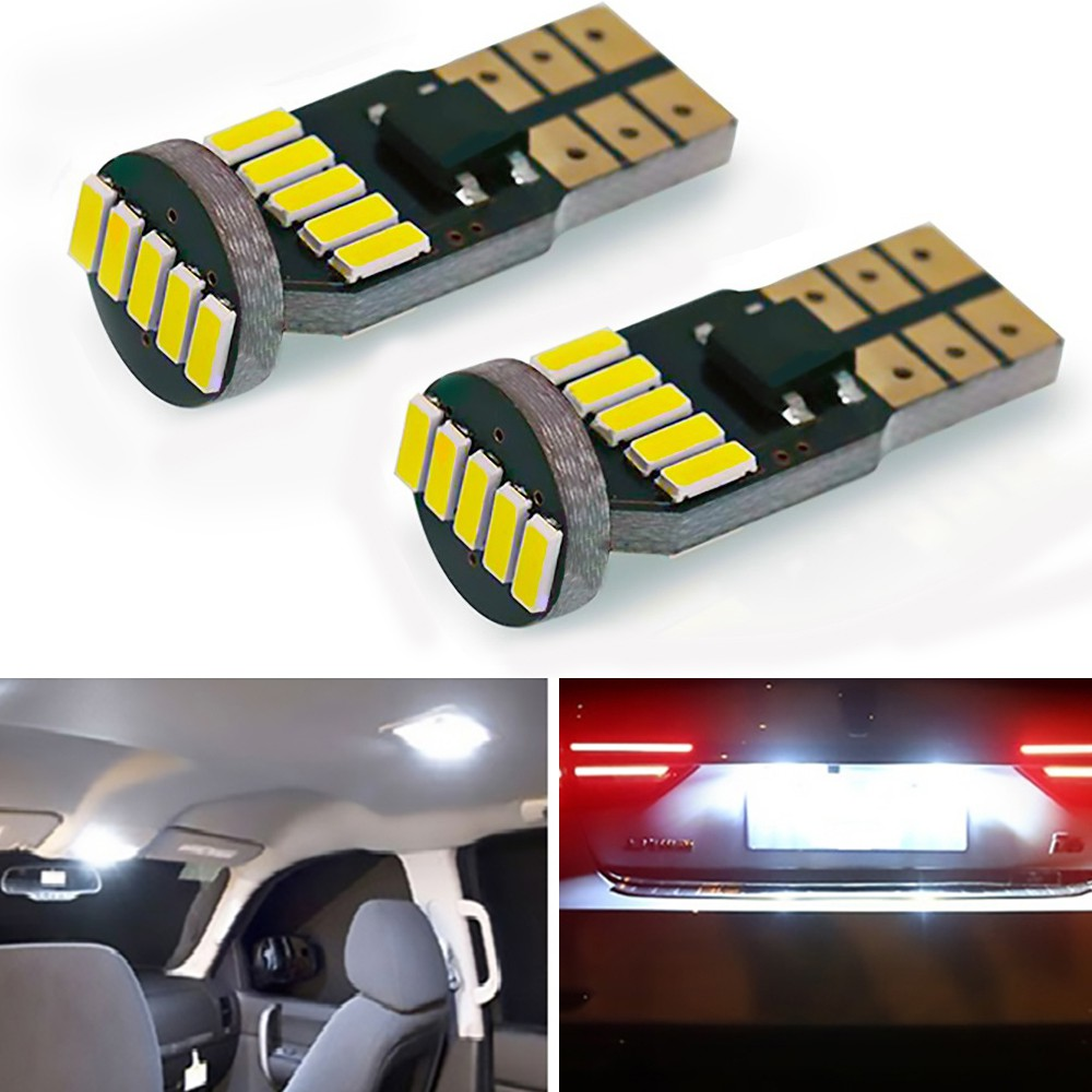 Useful 2Pc Car White T10 LED License Plate Lights 24-SMD Xenon Bulbs168 194 2825