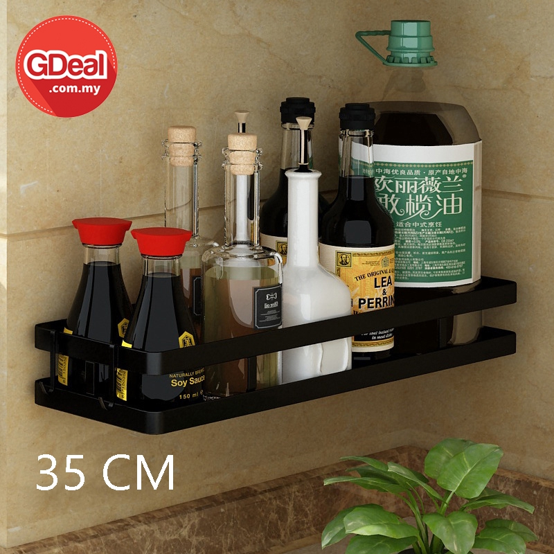 GDeal Stainless Steel 35cm Perforated Wall Hanging Free Punching Spice Rack Rak Dapur رق داڤور