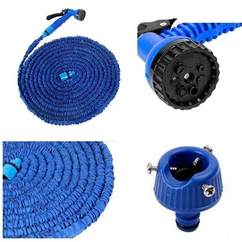 200FT Expandable Flexible Water Garden Hoses Pipe Water Spray Watering Gun Kits