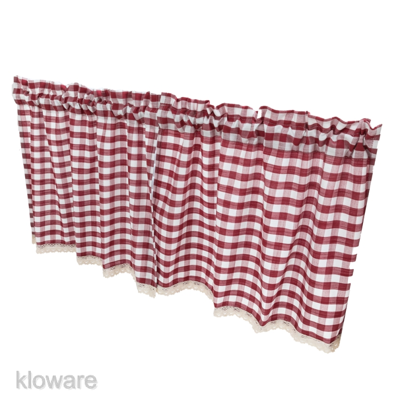 Check Plaid Gingham Window Curtain Valance Farmhouse Kitchen Curtains 51x16 Shopee Malaysia