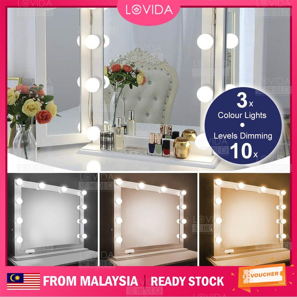 Lovida Hollywood Style 3 Colours Mood Beauty Make Up Dressing Table 10 Led Vanity Mirror Lights Bulb Fixture Lighting Shopee Malaysia
