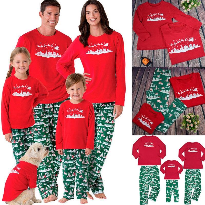 406fce6a36 Family Matching Christmas Pajamas Set Mum Dad Kids Deer Sleepwear Nightwear