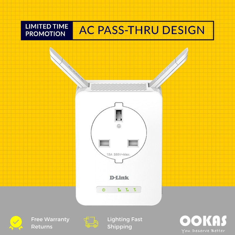 D-LINK DAP-1365 WiFi Repeater Wireless N300 Extender Booster with AC  Passthrough