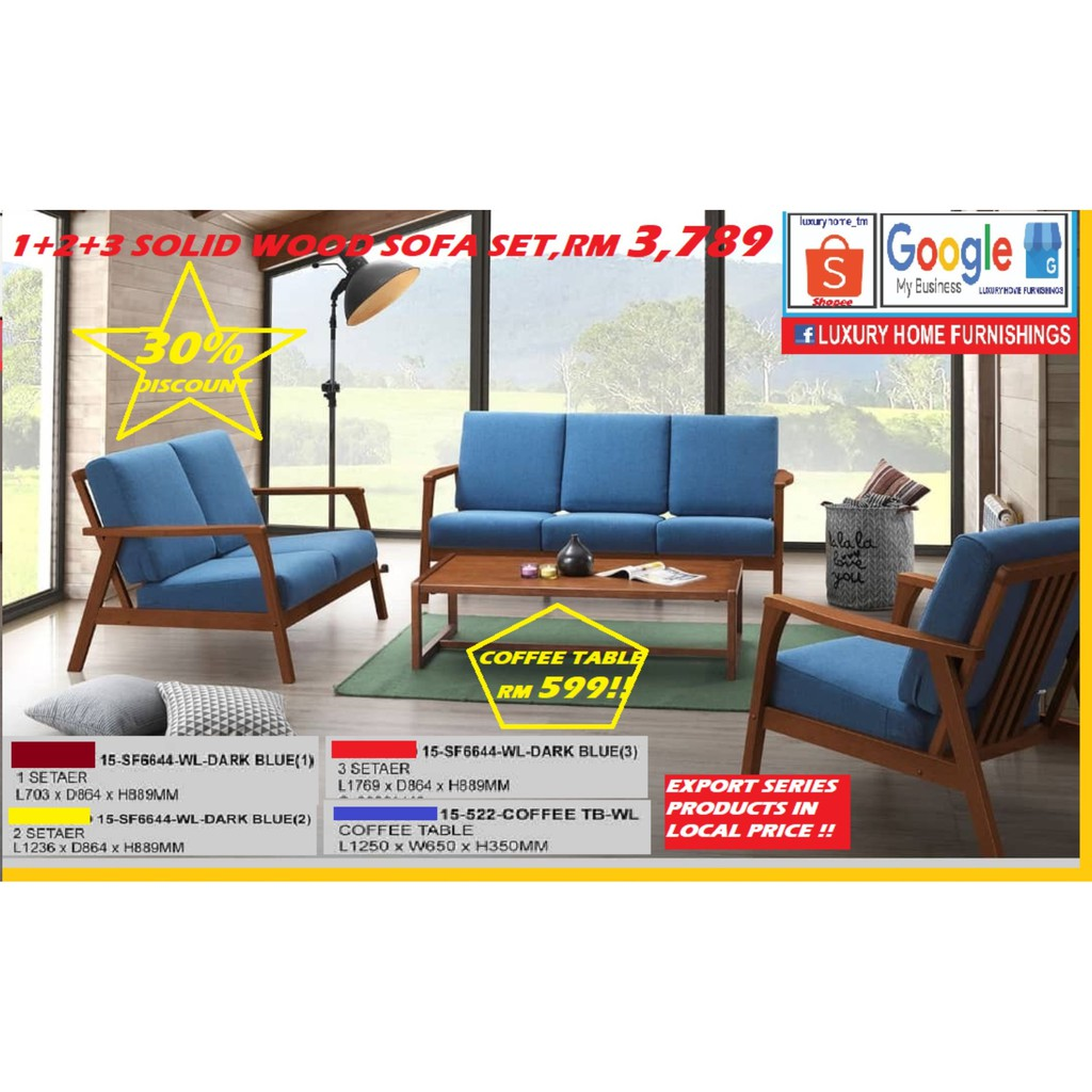 WOODEN FRAME & CUSHION SOFA SET!! NEW ARRIVAL, MERDEKA 2020 RELEASE!! EXPORT SERIES IN LOCAL PRICE!!