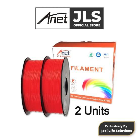 Anet 340m 1.75mm PLA 3D Printing Filament Biodegradable Material - Red (2 Pcs)