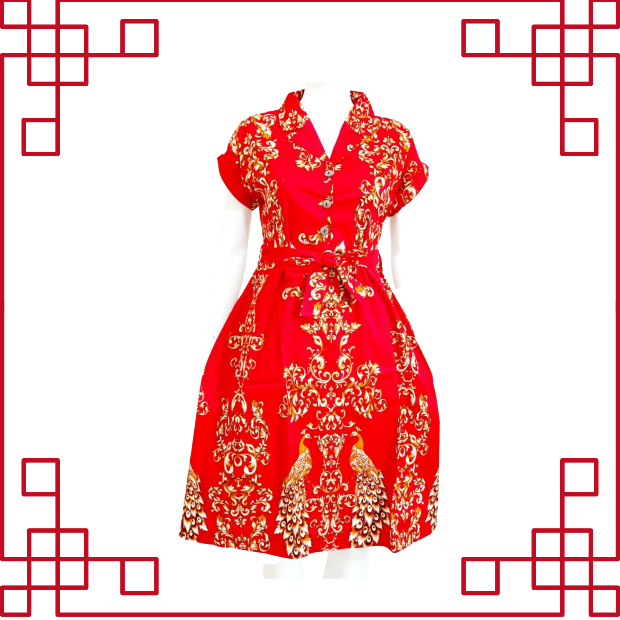 Cheongsam Batik Red Dress 851A