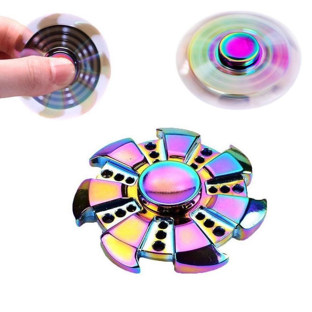 Rainbow Hand Fidget Spinner Stress Titanium Metal Alloy EDC High Speed Focus Toy