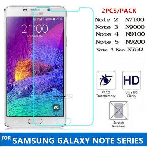 Samsung Galaxy Note 2 3 4 5 Neo N7100 N9000 N9100 N750 N9200 9H Tempered  Glass
