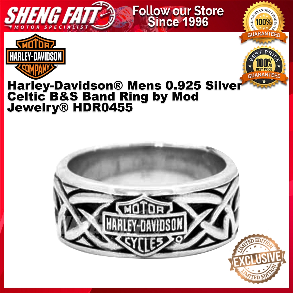 Harley-Davidson® Mens 0.925 Silver Celtic B&S Band Ring by Mod Jewelry® HDR0455 size 10