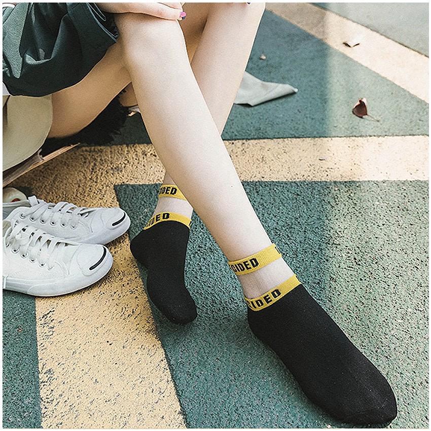 [TNY] 5 Pairs Women's Cotton Socks - Words Print Design Socks