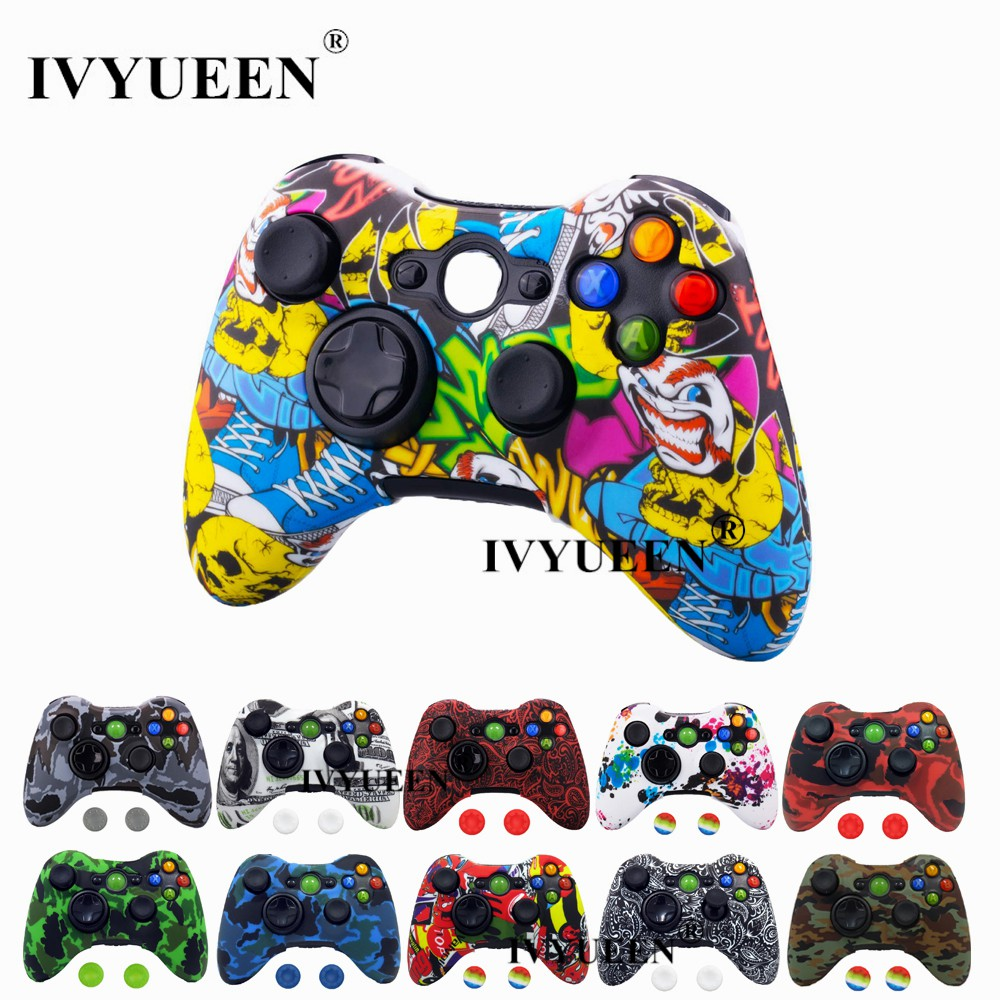 Ivyueen For Microsoft Xbox 360 Wired Wireless Console Camo Silicone Skin Grip Case Protector Cover Game Accessories