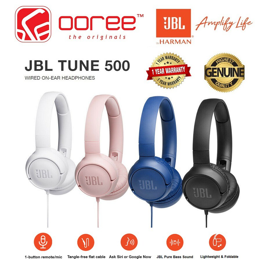JBL TUNE 500 T500 WIRED HEADPHONE ON EAR PURE BASS LIGHTWEIGHT FOLDABLE 1  BUTTON MIC REMOTE SIRI GOOGLE NOW FLAT CABLE