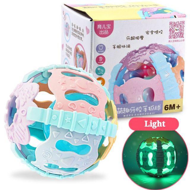 [ READY STOCK ]  Baby Rattle Teether Ball Soft Hand Shaker Bell Sound Light Sensor Educational Toy Budak Mainan Murah